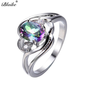 Blaike Mystic Fire White/Blue/Rainbow Opal Oval Zircon Rings 925 Sterling Silver Filled
