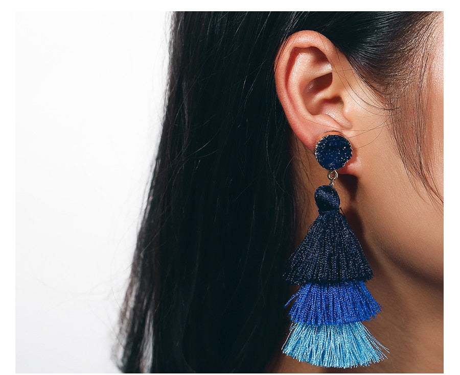 Boho Druzy Tassel Earrings