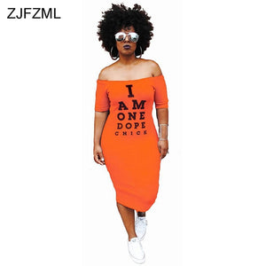 ZJFZML Plus Size Casual I am one dupe women Bodycon Cold Shoulder dress