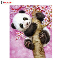 Load image into Gallery viewer, HUACAN Panda Full Round Rhinestones Cross Stitch 5D DIY Diamond Painting