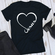 Load image into Gallery viewer, Love Jesus t-shirt heart graphic cotton