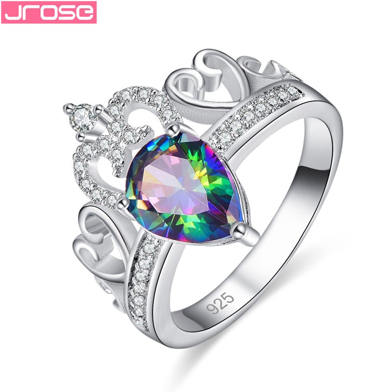 JROSE Fashion Silver 925 Princess Crown Rings
