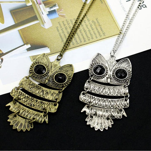 Big Eyes Owl Dangle Statement Long Chain Necklace