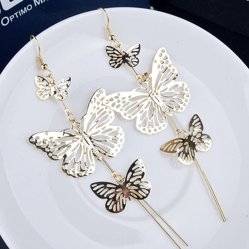 17KM Fashion Gold Color Alloy Double bow Butterfly drop earrings