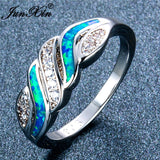 JUNXIN 925 Sterling Silver Filled Blue White Fire Opal Ring Sizes 6-10