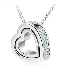 Load image into Gallery viewer, Austrian crystal rhinestone double Heart Pendant necklace