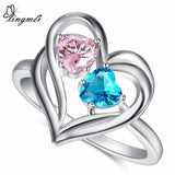 lingmei Blue Pink Red Green CZ White Gold Color Heart Ring