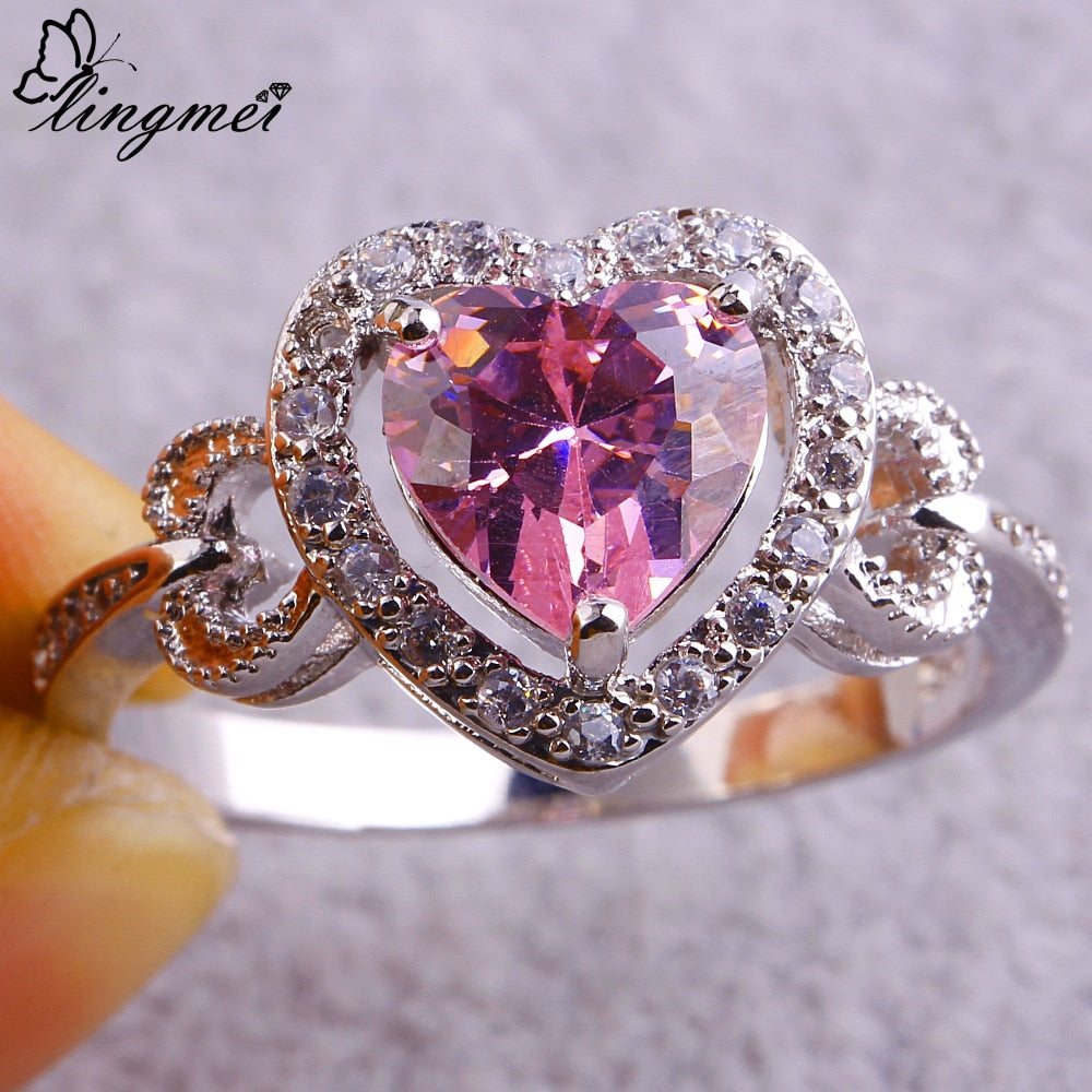 lingmei Love Hearts Pink & White CZ Silver 925 Ring