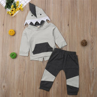 2Pcs Baby Boy Shark Hooded Set