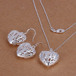 silver plated jewelry 925-sterling-silver heart necklace sets