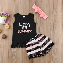 Load image into Gallery viewer, Long Live Summer Tank Shirt and Striped Shorts 3pc set