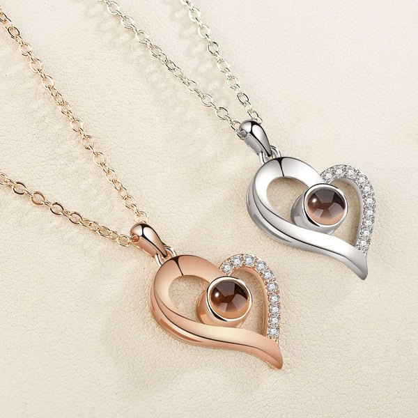 Love Heart Rose Gold &Silver 100 languages I love you Projection Pendant Necklace
