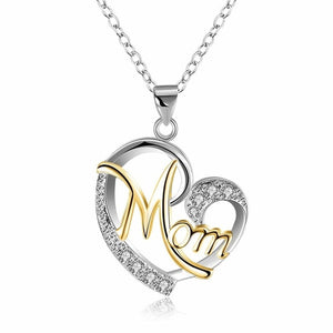 Mom Heart Pendant Necklace With CZ Stone