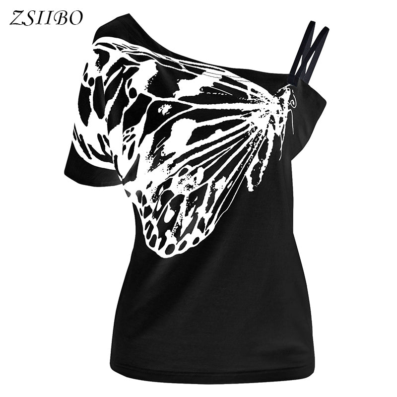 ZSIIBO Sexy Oblique Butterfly Printed Strap Short Sleeve Tops