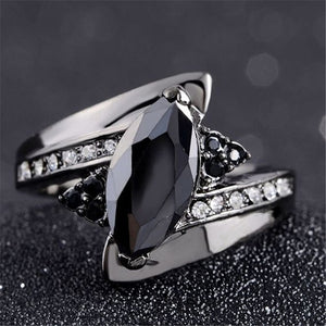 Classic Anillos Red Crystal Zircon Black Color Rings