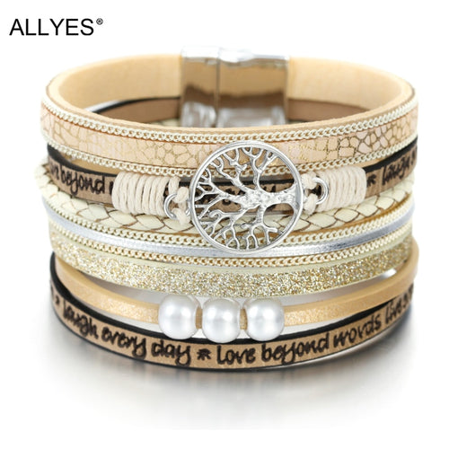 ALLYES 9 Fashion Tree of Life Ladies Bohemian Multilayer Wide Wrap Bracelet