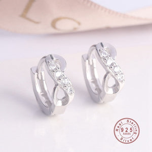 Delicate 100% 925 Sterling Silver/Gold Sparkling Bow Stud Earrings With Infinity Clear CZ