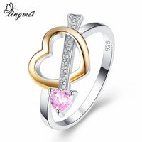 Lingmei Love Heart Pink & Yellow & White Zircon Silver 925 Ring