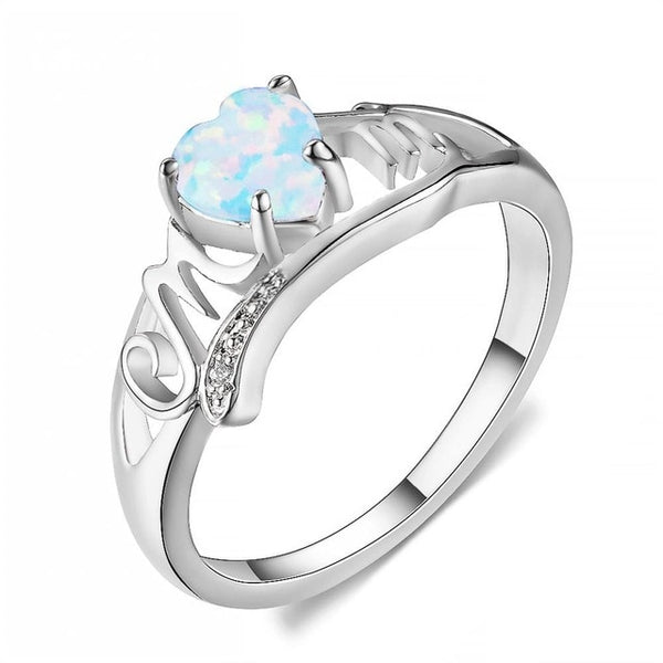 Fashion Mom White/Blue Fire Opal Stone Crystal Sliver Ring