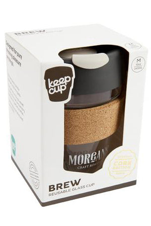 Morgans Glass Keep Cup With Cork Band 12oz/340ml