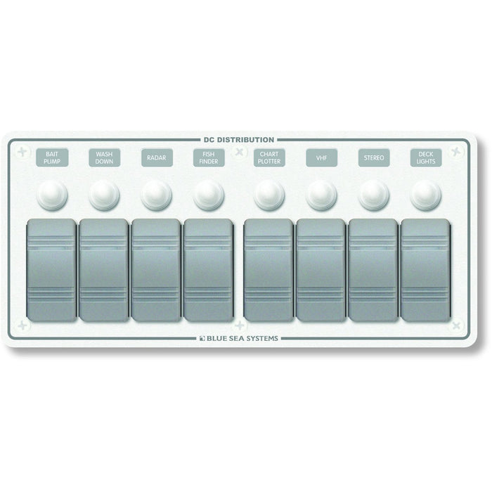 Blue Sea 8271 Water Resistant Panel - 8 Position - White - Horizontal Mount [8271]