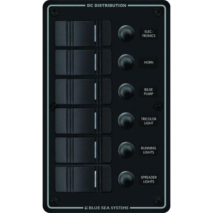 Blue Sea 8373 Water Resistant 6 Position - Black - Vertical Mount Panel [8373]