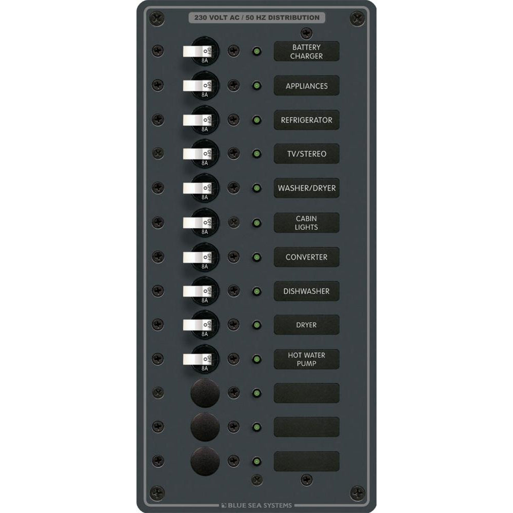 Blue Sea 8580 AC 13 Position 230v (European) Breaker Panel (White Switches) [8580]