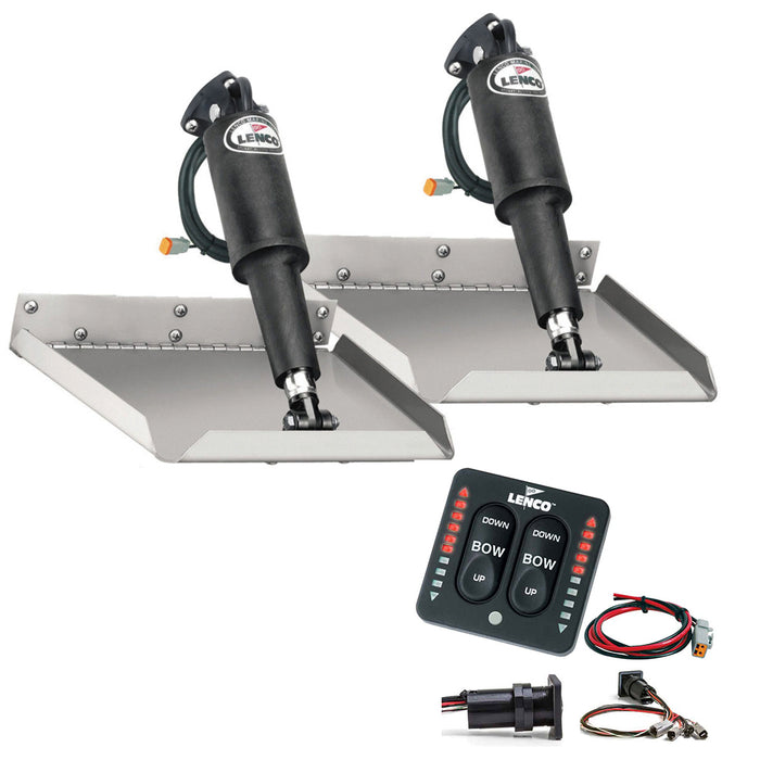 "Lenco 12"" x 18"" Edgemount Trim Tab Kit w/LED Indicator   Switch Kit 12V [TT12X18EI]"