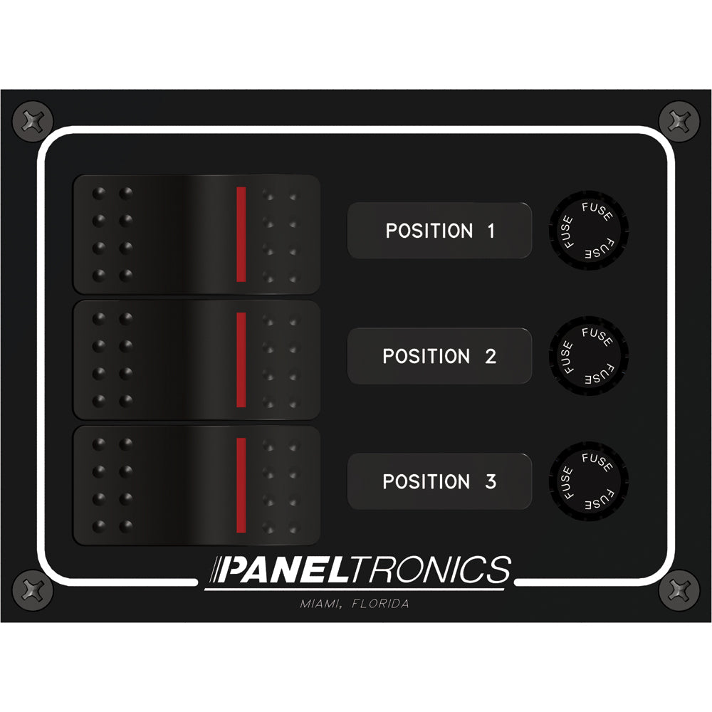 Paneltronics Waterproof Panel - DC 3-Position Illuminated Rocker Switch & Fuse [9960014B]