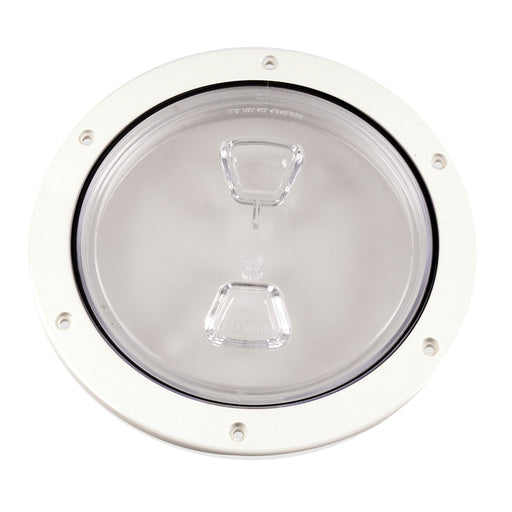"Beckson 6"" Clear Center Screw Out Deck Plate - White [DP60-W-C]"