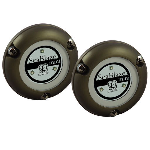 Lumitec SeaBlaze Mini - Underwater Light - Pair - Brushed Finish - Blue Non-Dimming [101246]