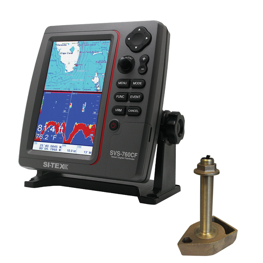 SI-TEX SVS-760CF Dual Frequency Chartplotter/Sounder w/Navionics+ Flexible Coverage & 1700/50/200T-CX Transducer [SVS-760CFTH]