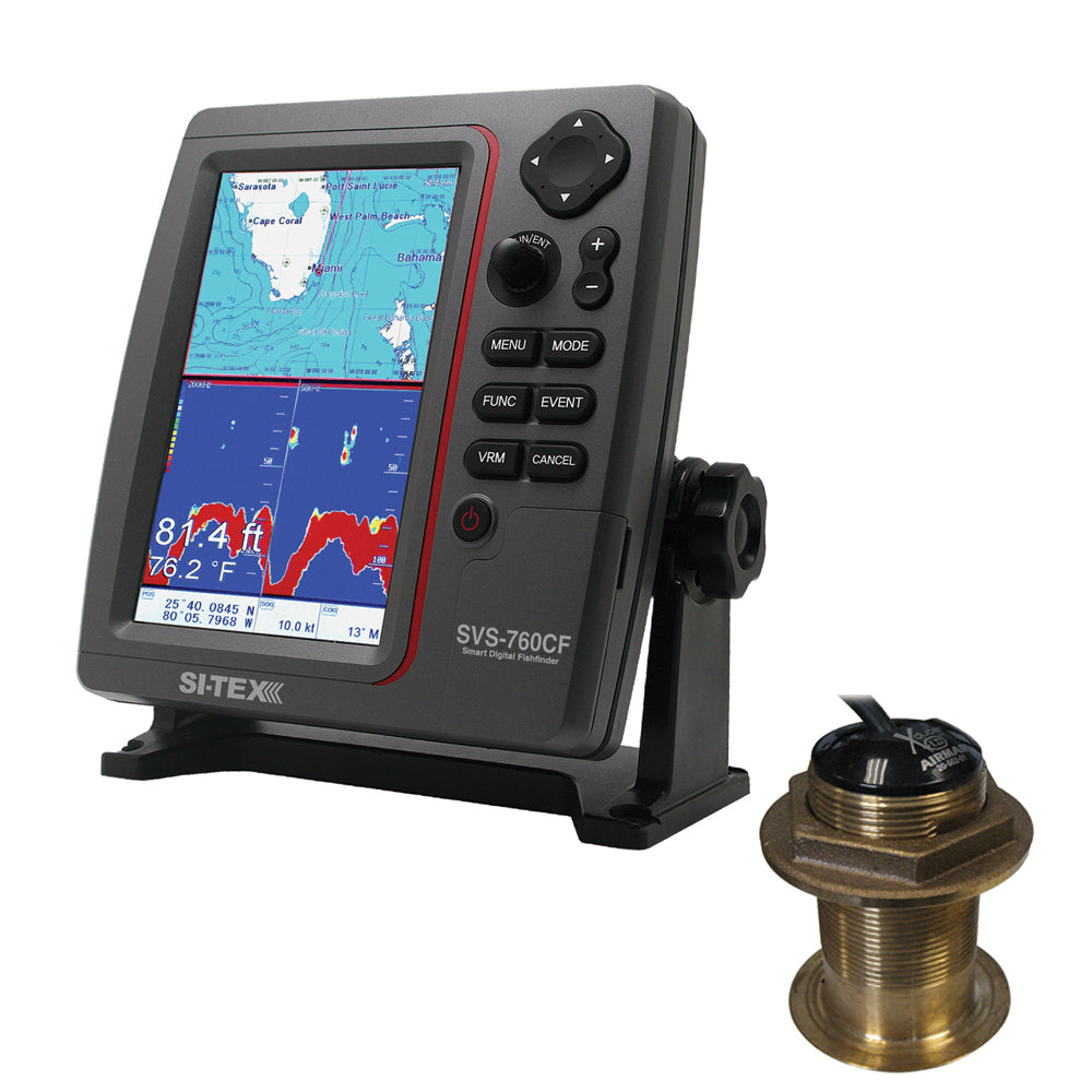 SI-TEX SVS-760CF Dual Frequency Chartplotter/Sounder w/ Navionics+ Flexible Coverage & Bronze 12 Degree Transducer [SVS-760CFB60-12]