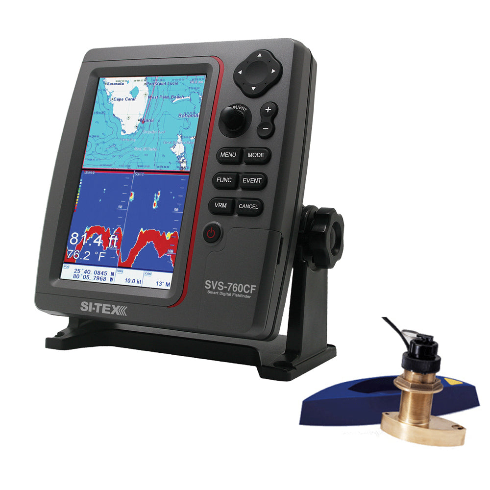 SI-TEX SVS-760CF Dual Frequency Chartplotter/Sounder w/ Navionics+ Flexible Coverage & Bronze Thru-Hull Triducer [SVS-760CFTH2]