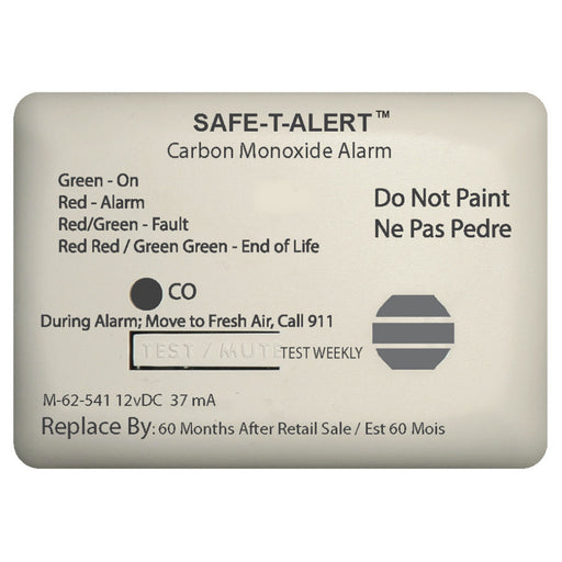 Safe-T-Alert 62 Series Carbon Monoxide Alarm w-Relay - 12V - 62-541-Marine-RLY-NC - Surface Mount - White [62-541-MARINE-RLY-NC]