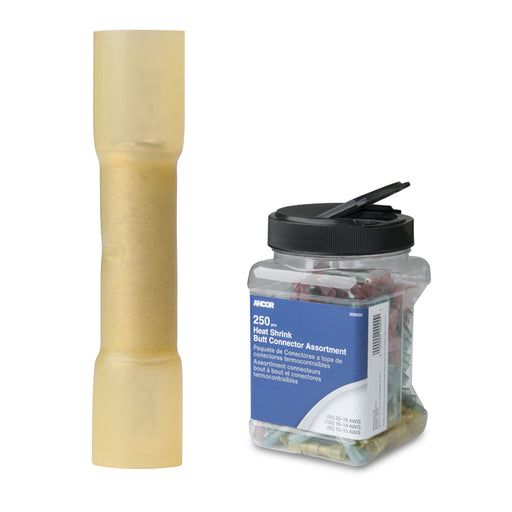 Ancor 12-10 AWG Heat Shrink Butt Connector - 250-Pieces - Jar [309201]