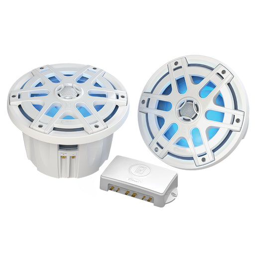 "Poly-Planar MA-OC8 8"" Round Waterproof Blue LED Lit Speaker - White [MA-OC8]"