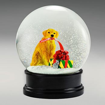 Dog With Gift Snow Globe