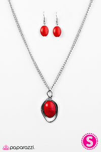 Paparazzi ♥ Skipping Stones - Red ♥  Necklace