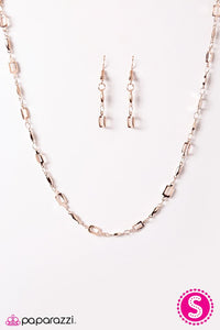 Paparazzi ♥ SQUARE She Goes Again - Rose Gold ♥ Necklace