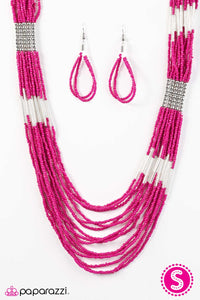 Paparazzi ♥ Let It BEAD - Pink ♥  Necklace