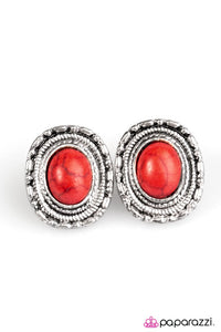 Paparazzi ♥ The Country Life - Red ♥ Post Earrings