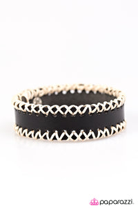 Paparazzi ♥ Stitch It Up - Black ♥  Bracelet