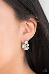 Paparazzi ♥ Super Superstar - White ♥  Post Earrings