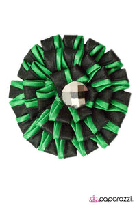 Paparazzi ♥ Candy Striper- Green ♥ Hair Clip
