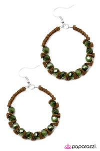 Paparazzi ♥ Desert Rose - Green ♥ Earrings