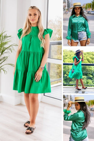 Green Outfit for St. Patrick's Day you can choose our Green Poplin Dress or satin Green Feather Trim Blouse