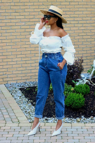 White Ruffle Crop Top with SETSOFRAN paperbag jeans