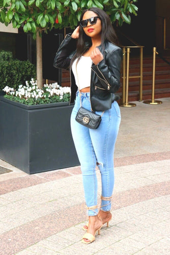 High Waist Skinny Jeans Distressed comfy style