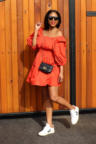 Burnt orange puff-sleeved poplin dress, Poplin Dress poplin dress outfit, poplin dress outfit ideas, poplin dress summer, Poplin dress style, Poplin midi dress, Poplin dress midi